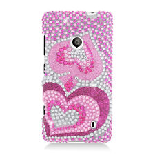 For Nokia Lumia 521 Crystal Diamond BLING Hard Case Phone Cover Pink Hearts