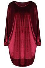 Vestiti da donna rossi velluto con girocollo