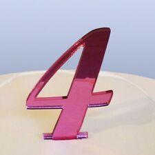 numéro 4 ECRITURE Miroir acrylique rose figurien pour gâteau (approximativement