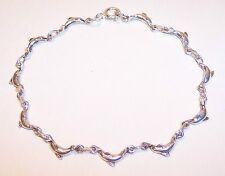 "Sterling Silver Dainty Dolphin Porpoise Link Bracelet 3.8gm 6 3/4"" Nice Gift"