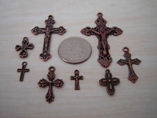 8 Different Copper Religious Rosary Cross Pendants & Charms Jewelry Finding Mix
