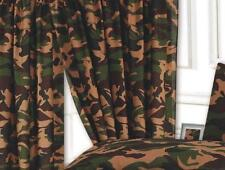 "66"" x 72"" CAMOUFLAGE CURTAINS KHAKI GREEN BEIGE CHOCOLATE ARMY MILITARY URBAN"