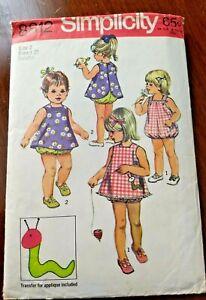 Simplicity Pattern 8812 Sz. 2 Little Girls Summer Playsuit & Pinafore. Complete!