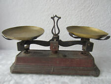 "rare > Antique French Original Force Balance Scale, cast Iron & brass, 11+"""