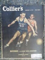1947 January 11 Colliers Magazine Basketball Crazy VINTAGE ADS Sandhogs Brooklyn