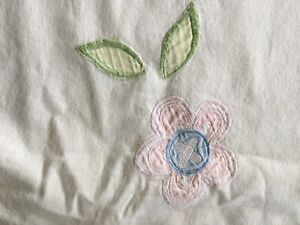 Pottery Barn Kids Embroidered Pink, Blue & Green Flowers Fabric Shower Curtain