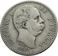 1881 ITALY with King Umberto I Genuine Antique Silver 2 Lire Italian Coin i74723