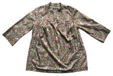 A.P.C. Sz S Liberty Print Bourton Paisley Open Neck Womens Tunic Top All-Cotton