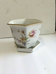 Antique Erphila Porcelain flower pot With Gold Trim and drip tray from Germany