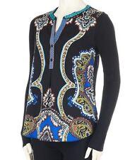 Hale Bob - Women's s - NWT - Mirror Scroll Paisley Print Mixed Media Blouse