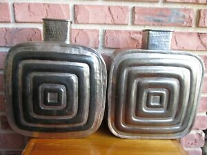 """Pier 1 Square Metal Vases w/Spiral Accents, India, 15"""" tall x 12"""" wide (2pcs)"""