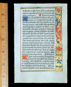 FRENCH ILLUMINATED  BOOK OF HOURS  LEAF, ON VELLUM - ANNUNCIATION, PARIS c 1532