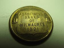 Associated Banks Of Milwaukee 1921 City Hall Plated Brass Medal (5354)