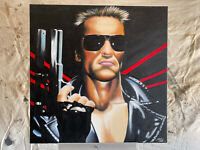 Original 2004 Mike DeVries Painting of Terminator Arnold Schwarzenegger Signed