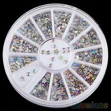 EG _6 Styles coloré acrylique art d'ongle autocollants paillettes strass ongles