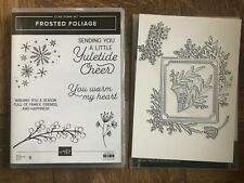 Stampin Up retired FROSTED FOLIAGE stamps & FROSTED FRAMES DIES BUNDLE Christmas