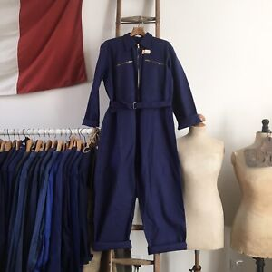 True Vintage 1950s French Workwear Chore Coveralls Boiler Suit Deadstock M- L/ L