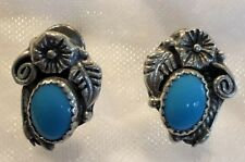 Sterling Silver Turquoise Pierced Stud Prairie Fire Signed Earrings