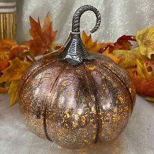 Copper Mercury GLASS Led Light up FALL Halloween PUMPKIN New