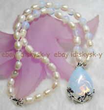 """Genuine Natural White Pearl Moonstone Teardrop-shaped Pendant Necklaces 18"""""""