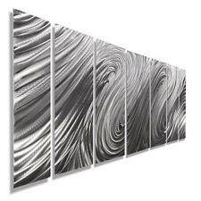 Contemporary Metal Wall Sculpture Silver Metal Wall Art Decor Accent Hanging