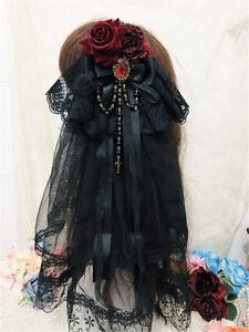 Gothic Floral Black Bowknot Hair Clip Lolita Punk Bride Headwear Hairclip W/Veil