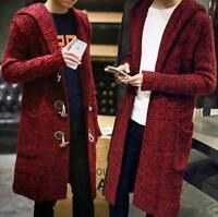 Men's Long Cardigan Hooded Duffle Coat Sweater Cable tops Knitted Trench Jacket