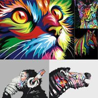 DIY Paint by Number Kit Oil Painting on Canvas Colorful Animal Home Wall Decors