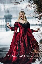 Red Black Ball Gown Gothic Medieval Wedding Dress Long Sleeve Lace Bridal Gowns