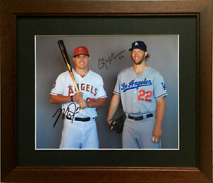 Nice Framed Mike Trout & Clayton Kershaw Color Photo ( Angles-Dodgers-MLB )