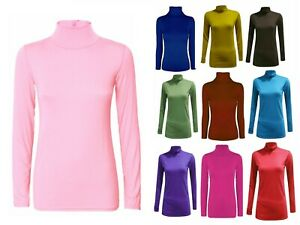 LADIES WOMENS POLO NECK TOP STRETCH LONG SLEEVE TURTLE NECK TOP JUMPER SM-2XL