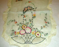 Vintage Table Runners Lace Edge Butterflies Flowers Needlework
