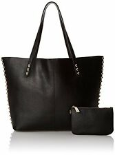 Rebecca Minkoff NWT Leather Studded Unlined Tote + Pouch Shoulder Bag Black $300