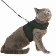 Escape Proof Cat Harness with Leash Holster Adjustable Soft Mesh Best Black M