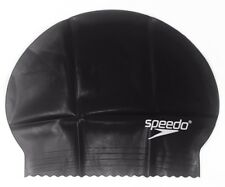 Speedo Solid Latex Swimming Swim Cap Black, Unisex, Water UV Protection Flexible