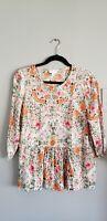 J.Jill Womens Spring Floral 100% Rayon Button Down Blouse Shirt PS Petite Small