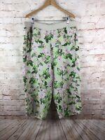 J Jill Love Linen Tan Pink Green Floral Tropical Cropped Capri  Pants Size XL