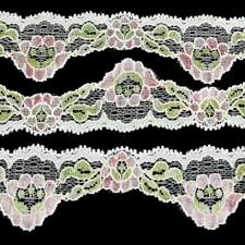 3m of 4cm/40mm Pretty White & Pink Floral Scalloped Stretch Picot Lace LC65