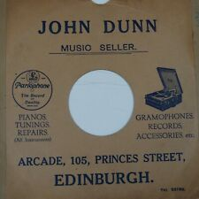 "78 rpm 10"" inch card gramophone record sleeve JOHN DUNN Music Seller EDINBURGH"
