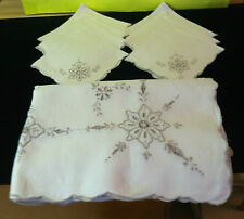 Vintage Beautiful Linen Cutwork Tablecloth & 8 Napkins from Portugal
