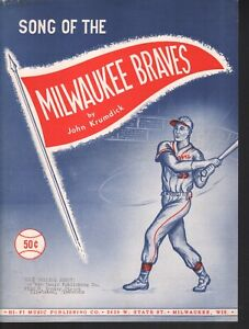Song of the Milwaukee Braves 1955 Basebll Sheet Music