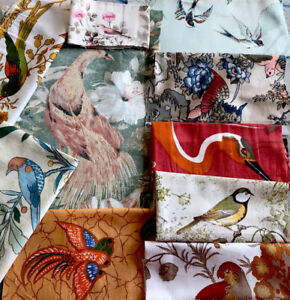 Vintage Sanderson/Crowson/Jonelle Fabric Bird Scraps - Min 10 Birds - Various