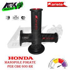 Manopole Forate 120 mm SuperBike Gel Grips Nero/Rosso per Moto Honda CBR 600 RR