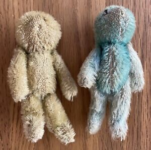 1900's WWI World War One Mascot Soldier Jointed Bears Blue White Rare
