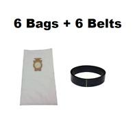 (6) F Style Cloth Hepa Vacuum Bags for Kirby Sentria I & II G10D + (6) Belts