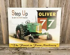 Oliver 77 Farm Tractor Farming Metal Tin Garage Barn Sign Vintage Style New