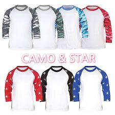 Mens Camouflage Military Camo Army Combat Uniform 3/4 Sleeve Raglan T-Shirt Top