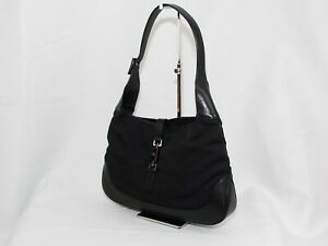 【Rank AB】Auth Gucci Jackie Canvas Shoulder Hand Bag Vintage From Japan A107