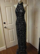DESIGNER EXQUISITE SEXY SILVER BEADED ON BLACK HALTER EVENING FORMAL PROM GOWN X