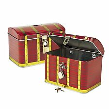 Metal Pirate Treasure Chest Home Cash Money Storage Container Lock Box
